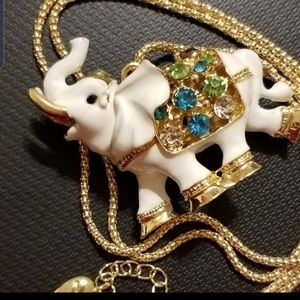NWT BJ necklace enamel/crystal Elephant Pendant